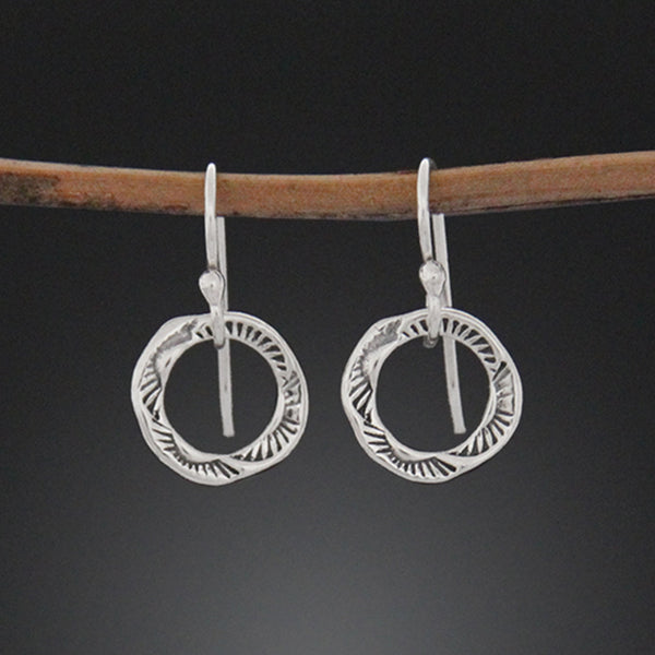 Small Stamped Hoop Earrings
