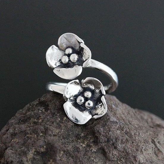 Sterling Silver Dogwood Flower Flare Ring