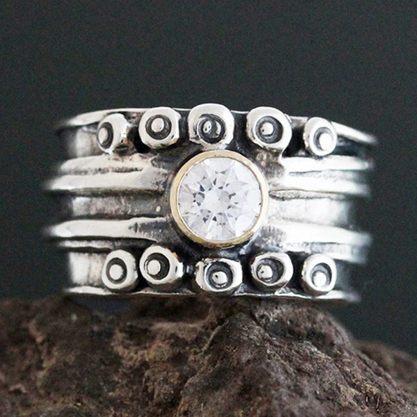Sterling Silver Wide Nordic Ring with CZ in Gold Bezel