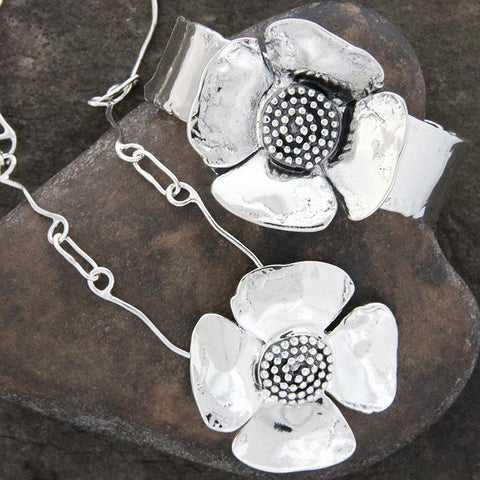 Dogwood Flower with Beaded Spiral Center Jewelry Set