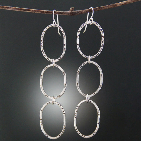 Sterling Silver Triple Oval Hoop Earrings