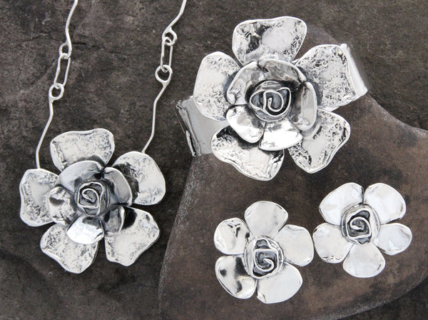 Petal Rose Flower Jewelry Set