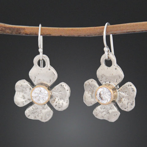 Clover Flower Earrings with Cubic Zirconia in Gold Bezel