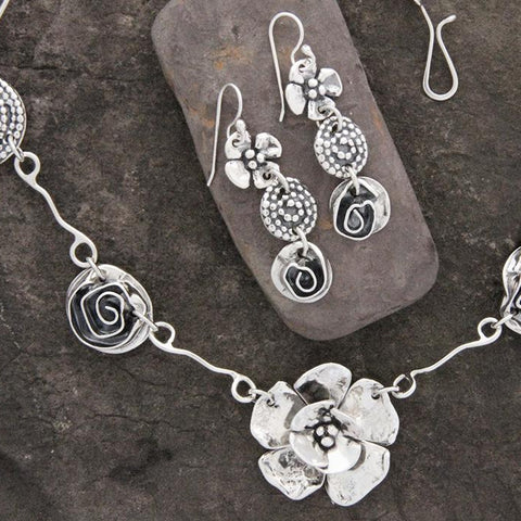 Sterling Silver Dogwood, Spiral & Rose Jewelry Set