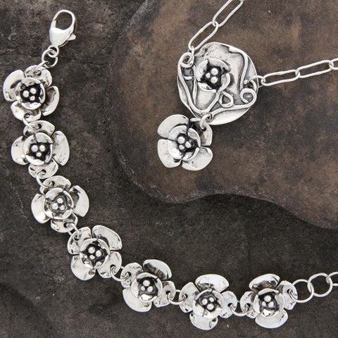 Sterling Silver Dogwood Flower & Lily Pad Jewelry Set