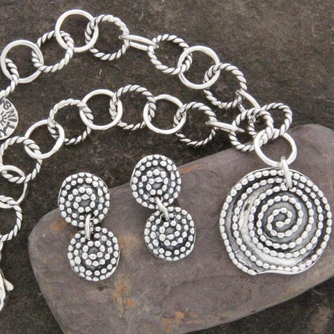 Sterling Silver Beaded Spiral Jewelry Set