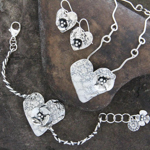 Sterling Silver Heart and Dogwood Jewelry Set