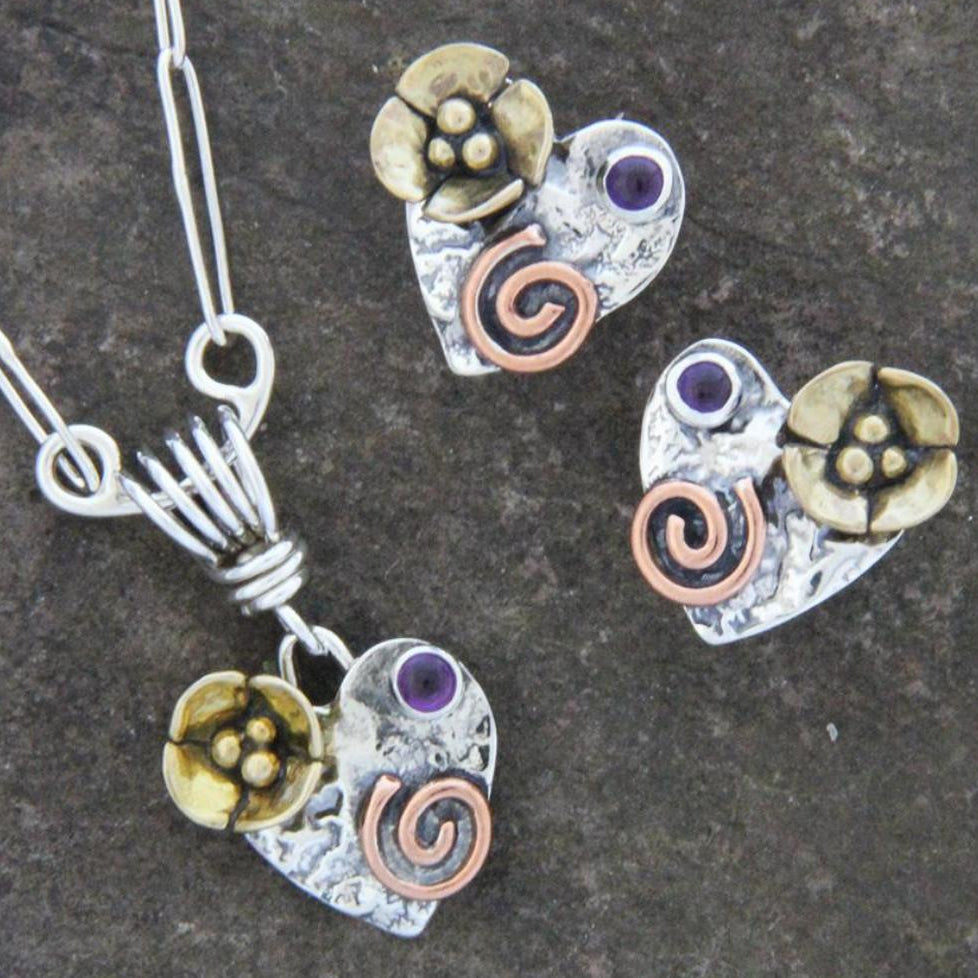 Mixed Metal Heart Jewelry Set