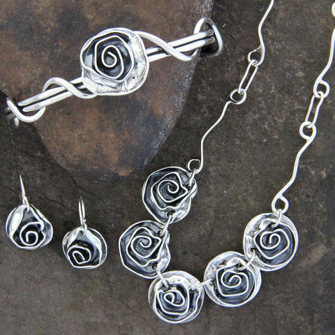 Sterling Silver Rose Jewelry Set