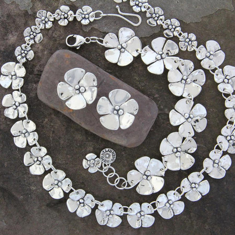 Sterling Silver Dogwood Jewelry Set
