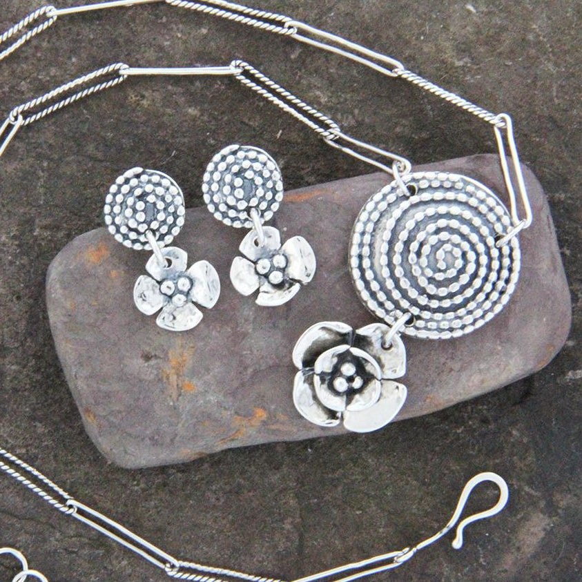 Sterling Silver Beaded Spiral & Dogwood Jewelry Set