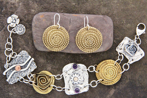 Sterling Silver & Brass Mixed Element Jewelry Set