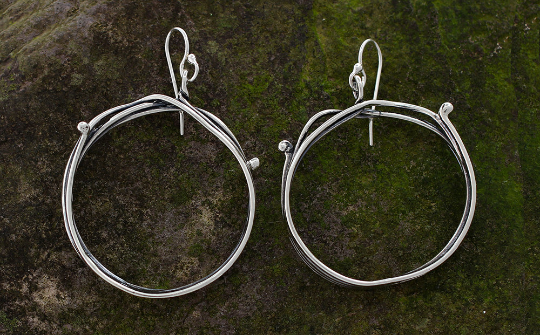 Sterling Silver Vine Hoop Earrings