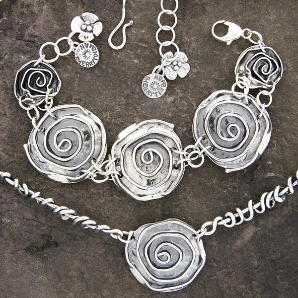 Sterling Silver Rose & Wrapped Vine Jewelry Set
