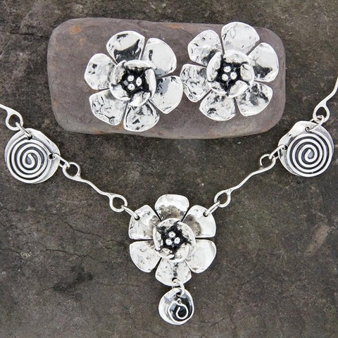 Rose, Flower and Spiral Jewelry Set