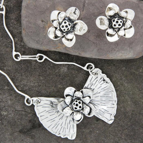 Sterling Silver Lotus and Ginkgo Jewelry Set