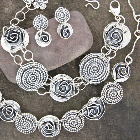 Sterling Silver Rose and Beaded Spiral Jewelry Set