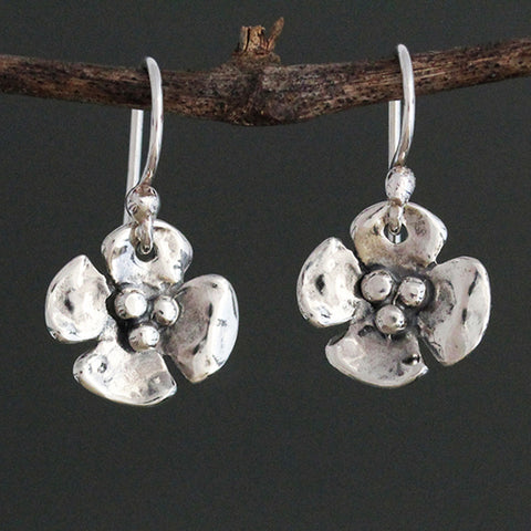 Sterling Silver Small Dogwood Earrings