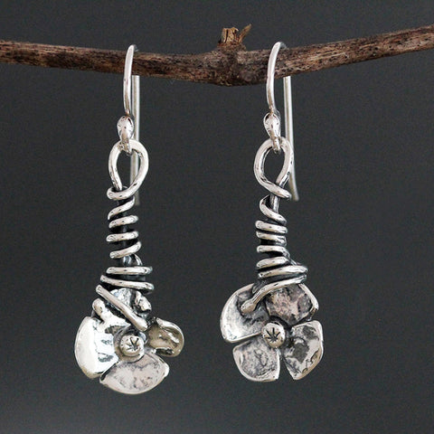 Wrapped Vine Dogwood Flower Earrings