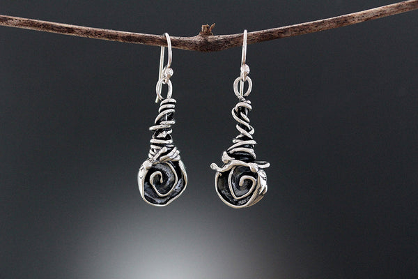 Sterling Silver Rose and Wrapped Vine Jewelry Set