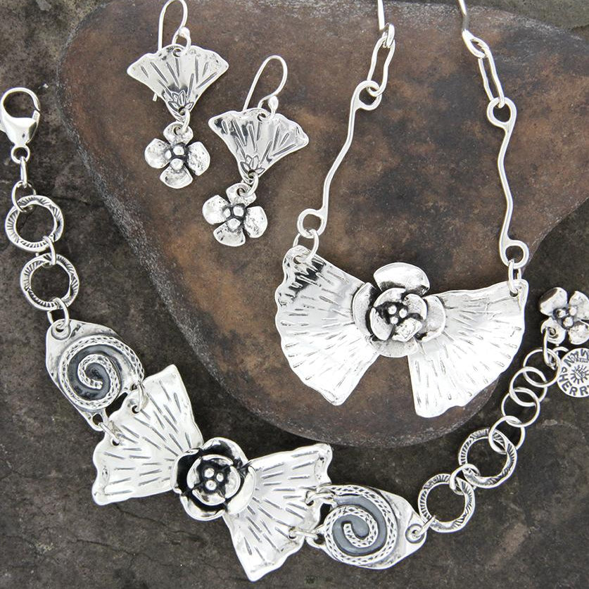 Sterling Silver Ginkgo and Dogwood Jewelry Set