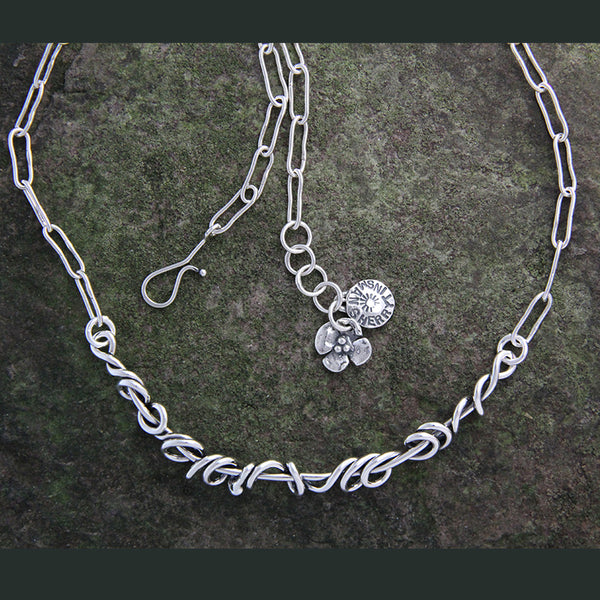 Sterling Silver Vine Necklace with Oval Chain