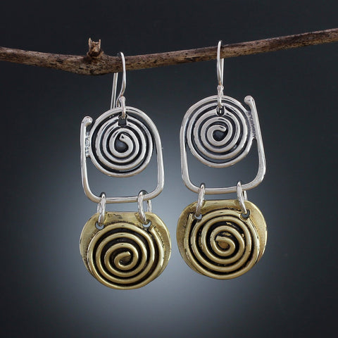 Sterling Silver and Brass Spiral Earrings