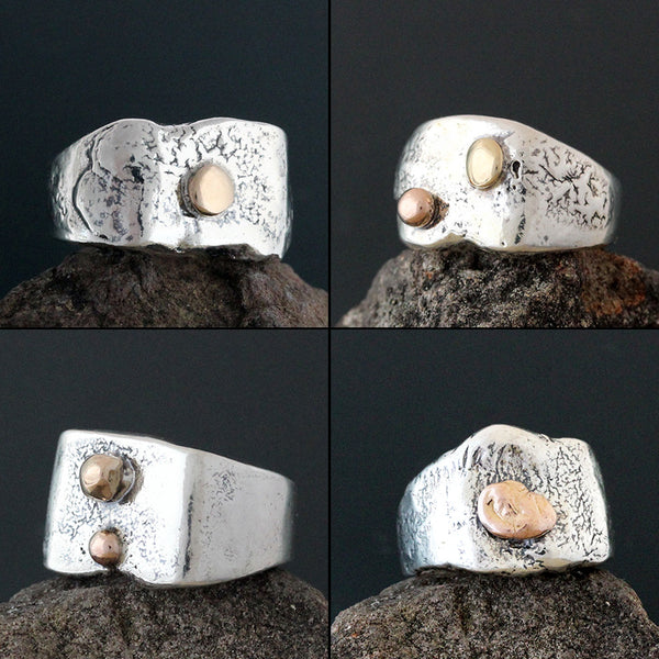 Abstract Ring with Gold Accents
