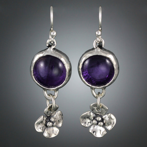 Sterling Silver and Amethyst Earrings with Dogwood Flower Drop