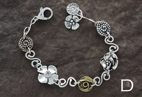Sterling Silver Spiral Link Mixed Element Bracelet