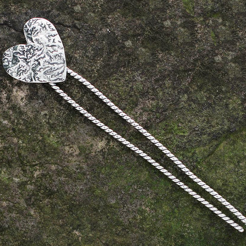 Sterling Silver Heart Hair Pin with Brass or Silver Heart