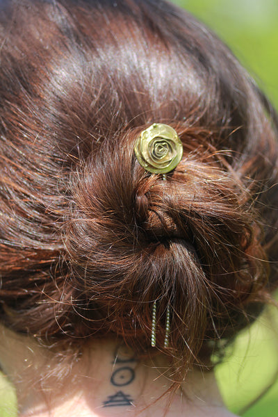 Brass and Sterling Silver Rose Hair Pin