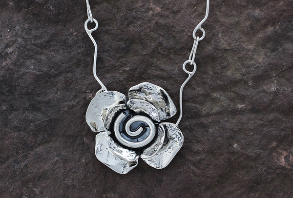 Sterling Silver Spiral Flower Jewelry Set