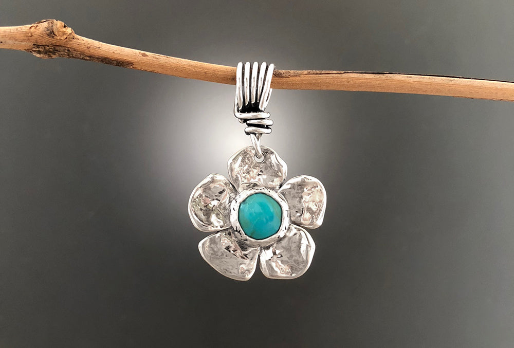 Sterling Silver Dogwood Flower with Turquoise Pendant