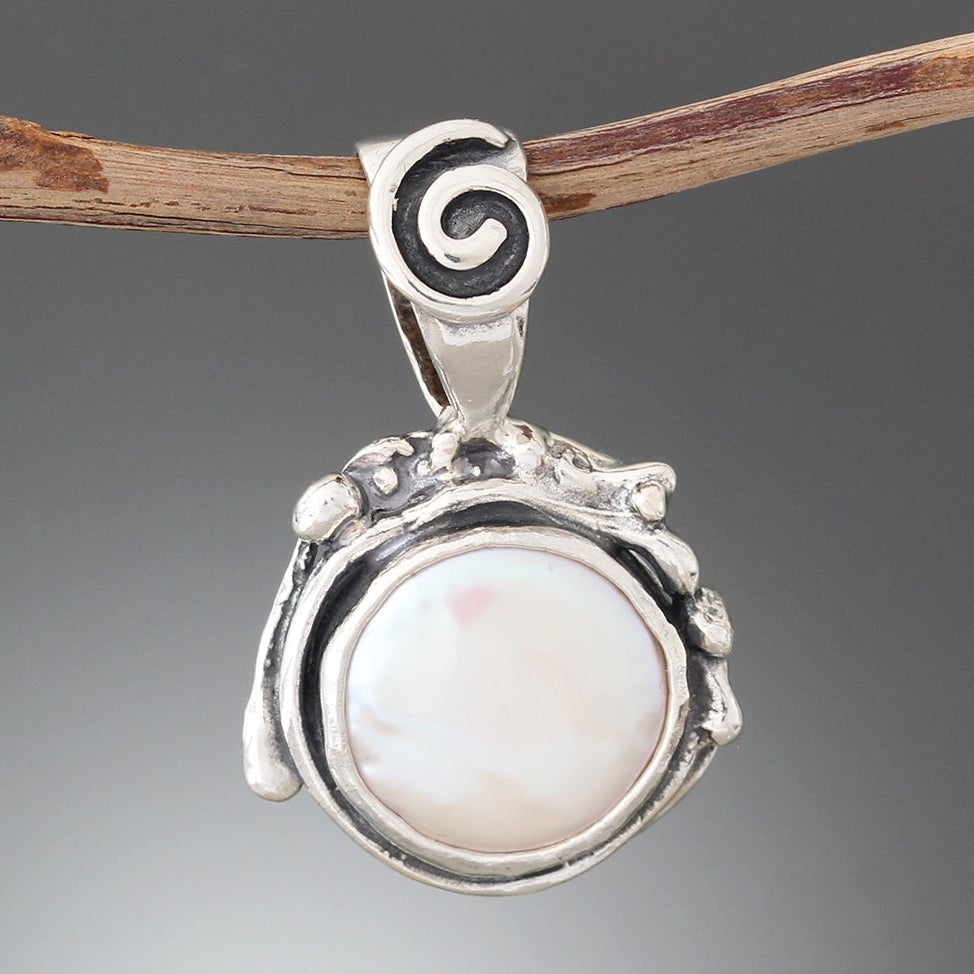 Sterling Silver Pearl Pendant with Structured Spiral Bail