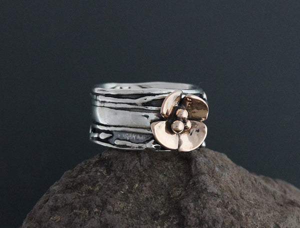 Sterling Silver Wide Vine Ring with Rose Gold Dogwood Flower