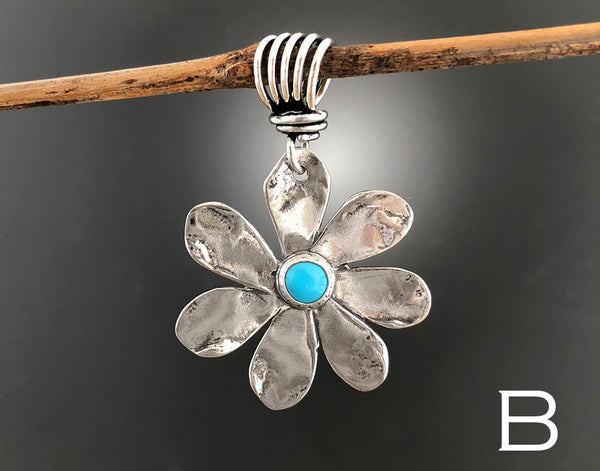 Sterling Silver Turquoise Daisy Flower Pendant