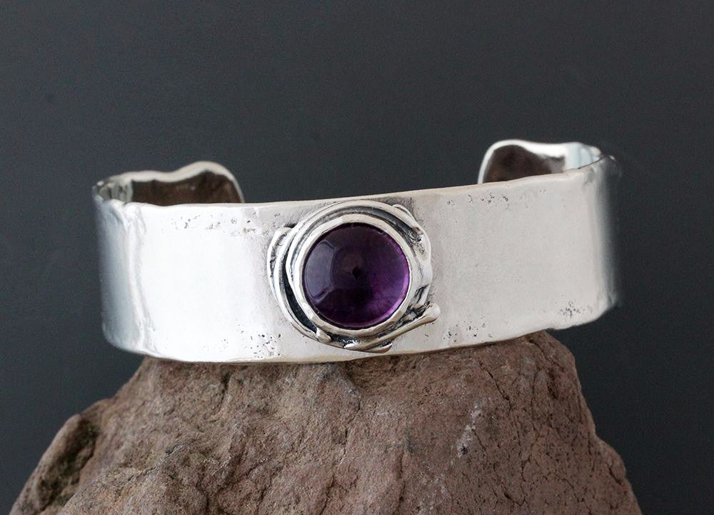 Sterling Silver and Amethyst Cuff Bracelet
