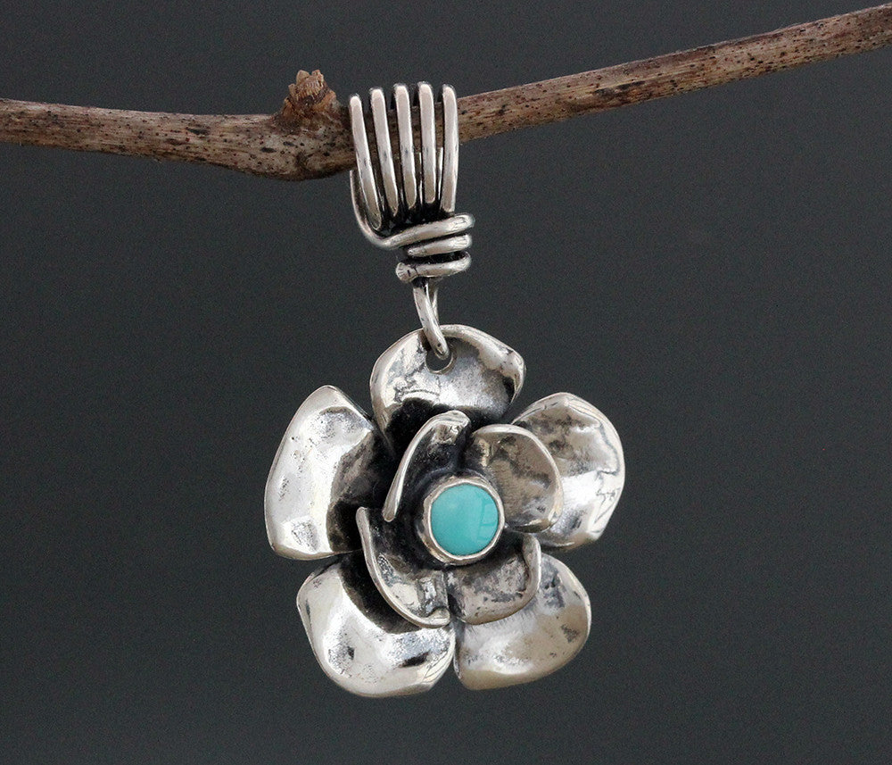 Sterling Silver Dogwood Flower Pendant with Lapis Lazuli or Turquoise
