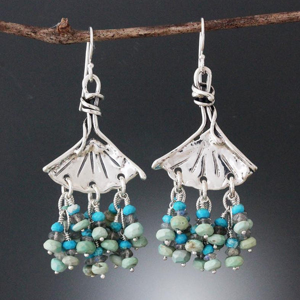 Sterling Silver Ginkgo Earrings with Turquoise & Labradorite Clusters