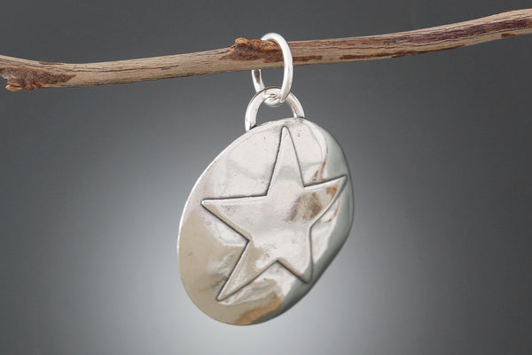 Sterling Silver Star Shield Pet Tag