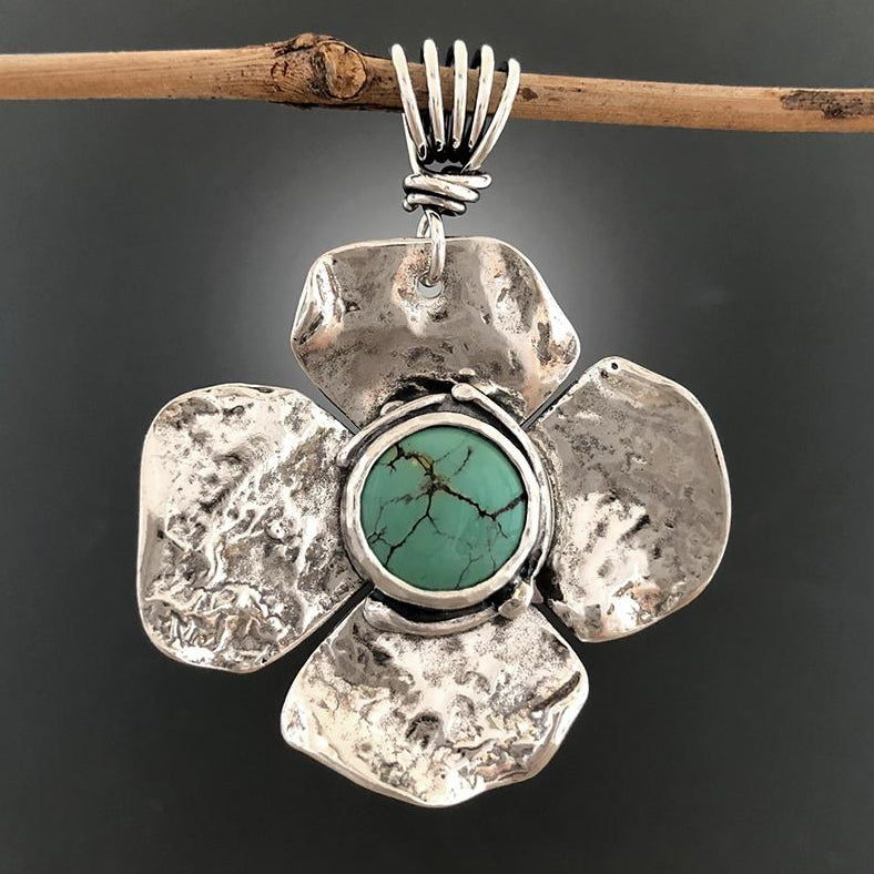 Sterling Silver Blue Green Turquoise Flower Pendant