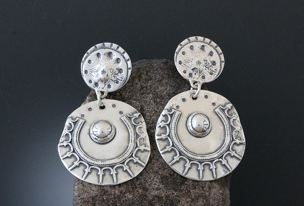 Sterling Silver Statement Shield Earrings