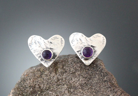 Sterling Silver Small Amethyst Heart Earrings