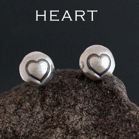 Sterling Silver Small Stamped Stud Earrings
