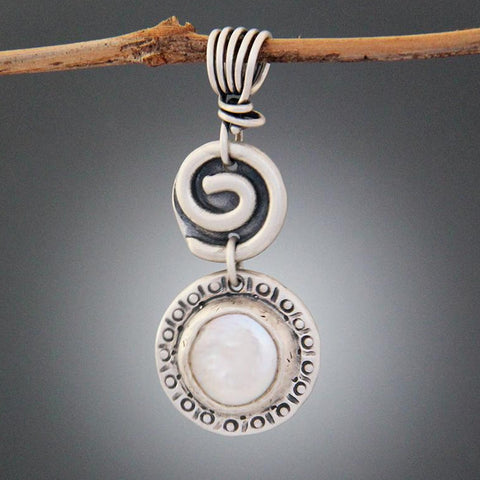 Sterling Silver Spiral and Pearl Pendant