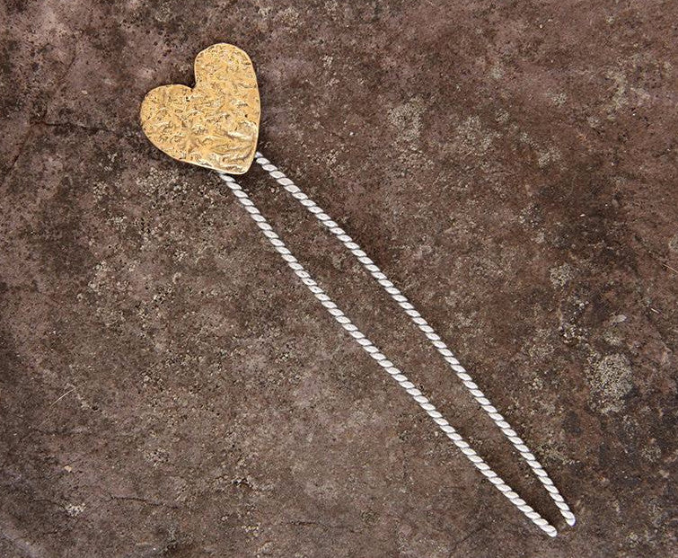 Heart Hair Pin with Brass or Silver Heart