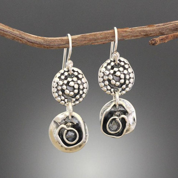Beaded Spiral and Rose Drop Earrings