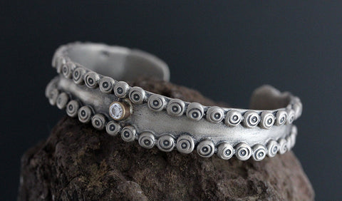 Sterling Silver Nordic Cuff with CZ in Gold Bezel