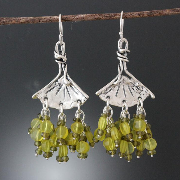 Sterling Silver Ginkgo Earrings with Olive Jade & Green Tourmaline Stone Clusters